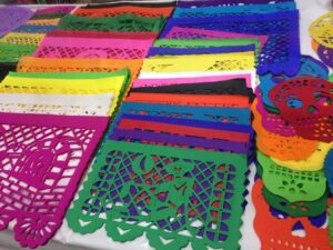 colorful paper as tablecloth for your altar